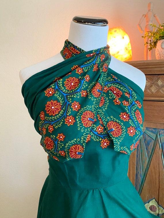 Vintage 50s batik wrap dress cotton convertible a… - image 6