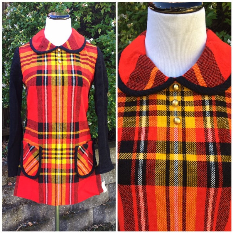 Vintage 70s sweater tunic red plaid deadstock Vicky Vaughn XSS