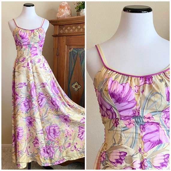 Vintage 70s maxi dress floral DeWeese Design S