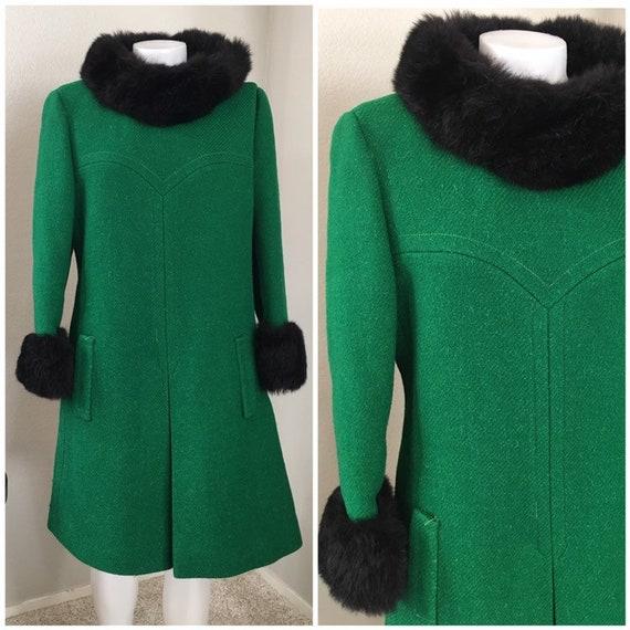 Vintage 50s 60s fur trimmed coat dress green black
