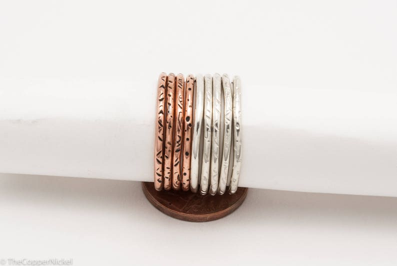 Copper Minimalist Stacking Ring Tiger Pattern