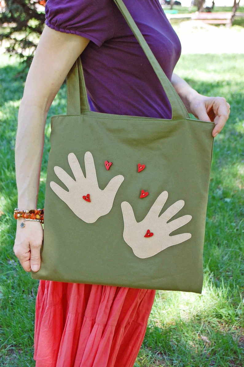 Eco Women Shopping Shoulder Bag Mommy Gift Bag with Mother Heart and Hands Khaki Canvas Medium Size Everyday Tote Bag Roomy Soft Tote Bag