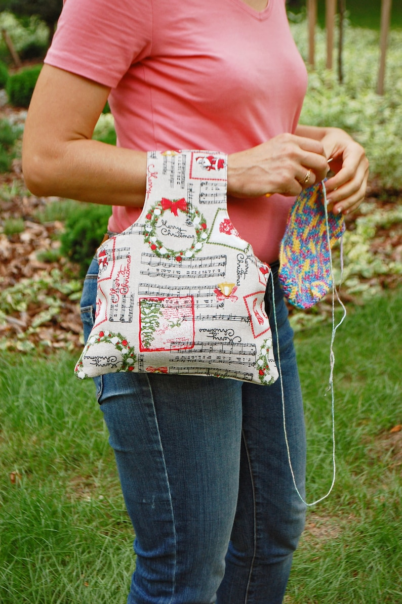 Wrist Crochet Project and Knitting Supply Bag with Christmas image 0