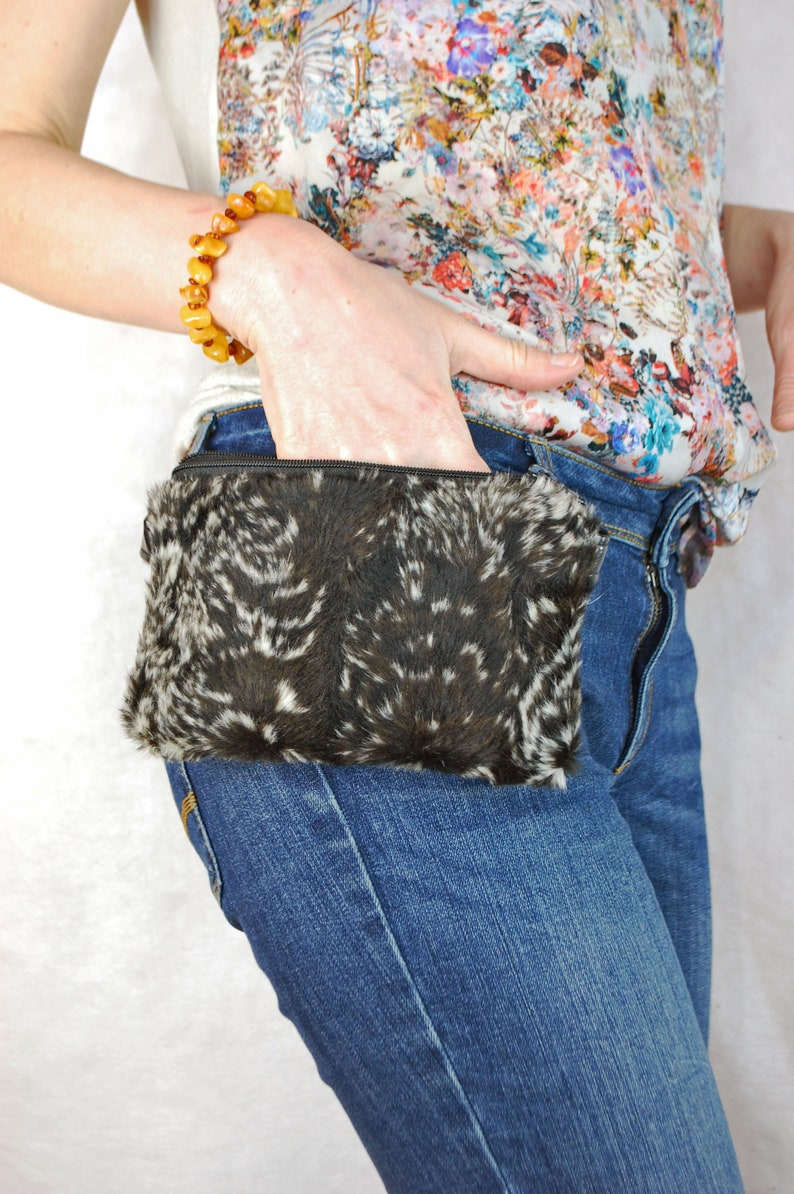 21a0c2443142 Furry Faux Leather Fanny Pack for Women, Black Phone and Money Bum Bag,  Festival and Travel Waist Pouch, Hip Belt Wallet