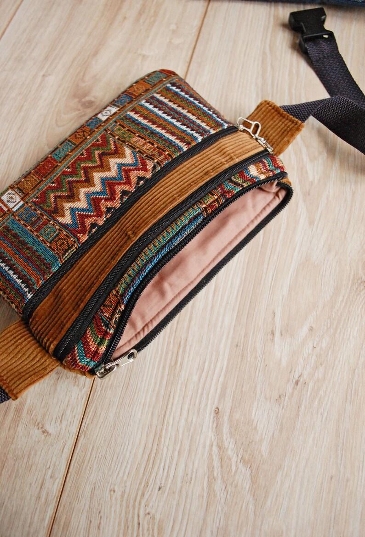 Ethnic Waist Bag Small Velvet Zipper Bum Bag for Cell Phone Tribal Belt Wallet Boho Hippie Fanny Pack for Women