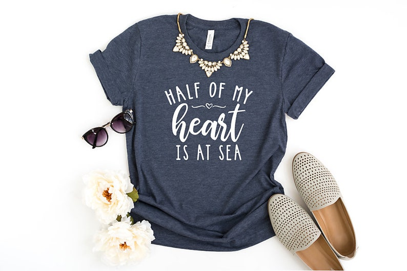 4fbdd0a771896d Half Of My Heart Is At Sea Unisex T-Shirt Military | Etsy