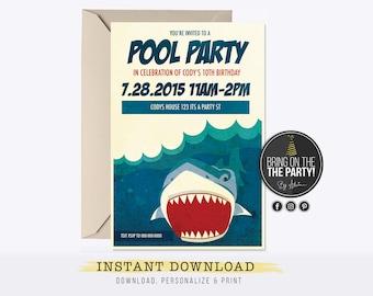 Pool Party Invitation Swimming Birthday Boy Invite INSTANT DOWNLOAD