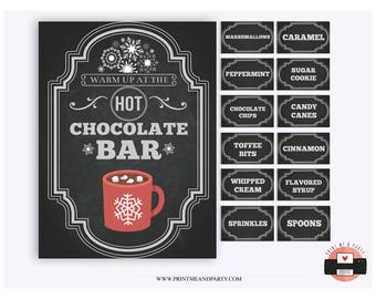 graphic regarding Hot Cocoa Bar Printable named Very hot chocolate bar Etsy