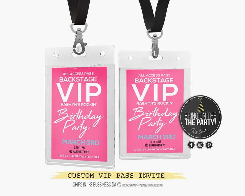 Rock Star Vip Pass Party Invitation Lanyard Invitations Rock Etsy