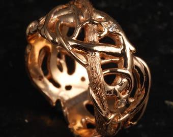 Wide Rose Gold Ring;  Organic Vine Wedding Band; Fantasy Ring