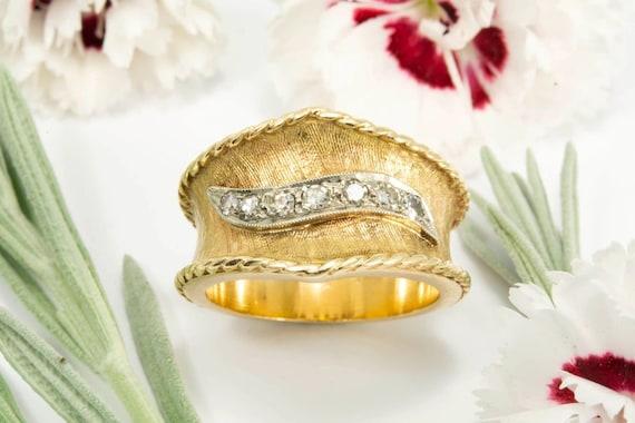 Wide Two Tone Seven Diamond Ring - image 3