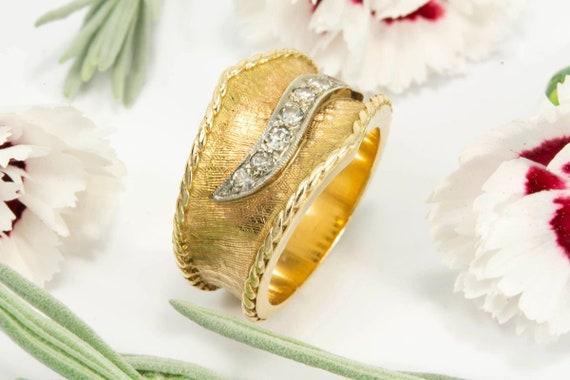 Wide Two Tone Seven Diamond Ring - image 1
