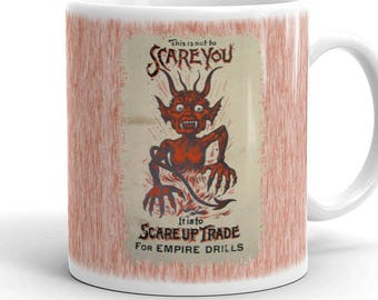 Devil Coffee Mug Vintage advertising Empire Drills Scare Up Trade Devil  Farm Implement Farmer Trading Card Horse Drawn Farming Machinery