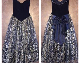 6c3c308aae Vintage Scott McClintock Ugly Prom Dress sz 4 Velvet Black Gold
