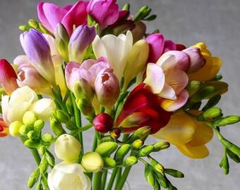 "ORRANGE RED Freesia Bush 9 Artificial Silk Flowers 21/"" Bouquet 6218ORRD"