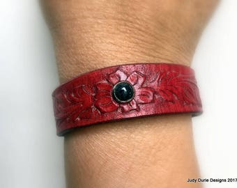 Hand tooled floral cuff