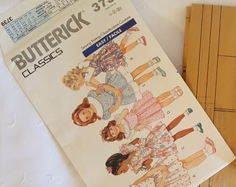 Butterick 3739  ~  Toddlers Childrens Dress  ~ Size: 4-5-6 ~ Dated 1989 ~ Vintage Pattern ~ Uncut Sewing Pattern ~ GRTODPAT