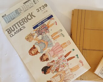 Butterick 3739 ~  Toddlers Childrens Dress  ~ Size: 1-2-3 ~ Dated 1989 ~ Vintage Pattern ~ Uncut Sewing Pattern ~ GRTODPAT