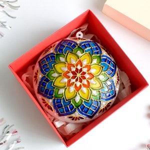 Rainbow mandala christmas ornament handmade Hand painted Christmas decor Gift for yoga lover Gift for her Yoga teacher ornament