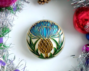 thistle christmas ornaments handmade scottish thistle christmas baubles christmas tree decorations gift for boyfriend