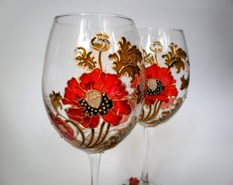 Valentines Day Gift Ocean Wine Glasses Hand Painted Sea Wine Etsy