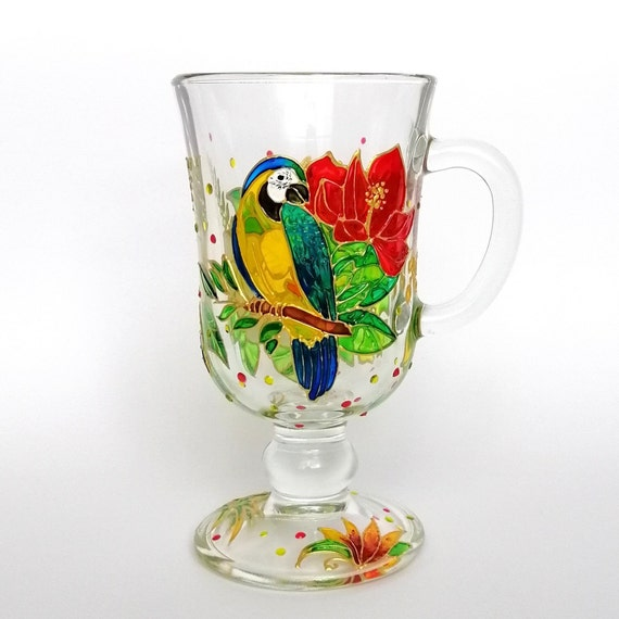 Parrot Irish Coffee Mug Personalised Hand Painted Cocktail Glass Tropical Party Decor