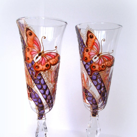 Home, Furniture & DIY Set Of 2 Handpainted Personalised Champagne Flutes Wedding Toasting Gift