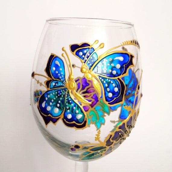 Mum wine glass with decorative butterfly detailing  Gift wrapped