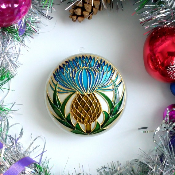 Christmas Decorations Handmade.Thistle Christmas Ornaments Handmade Scottish Thistle Christmas Baubles Christmas Tree Decorations Gift For Boyfriend