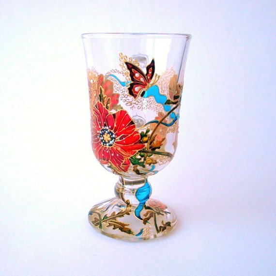 Poppy Irish Coffee Glass Hand Painted Drinking Glass Butterfly Tea Cup Floral Gift For Her Cocktail Glasses Stained Glass Painting