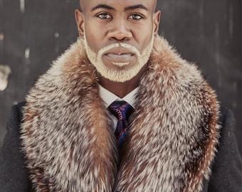 231cc33f8b9 Bespoke Charcoal Top Coat with Oversized Crystal Fox Fur Collar