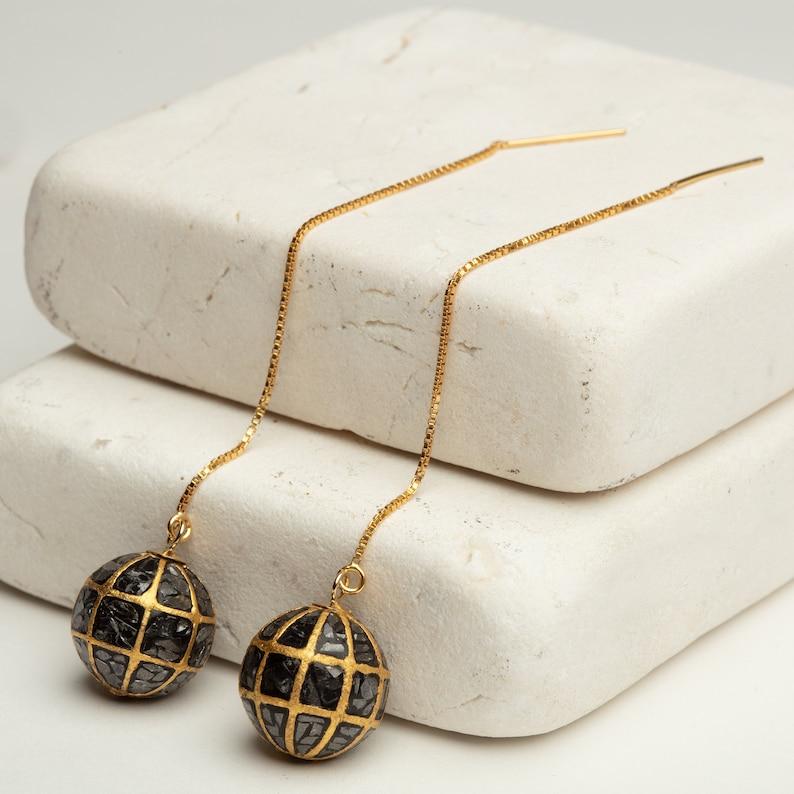Black Diamond Chip Discoball Hanging Earrings 14K Gold FilledSterling Silver Drop Earrings GoldFilled Earrings Fashion Earrings For Her