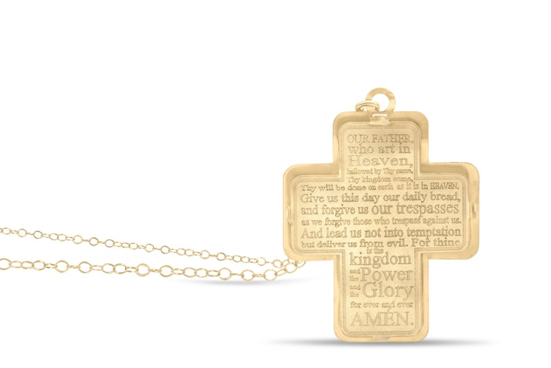 Gold filled prayer cross charm pendant engraved with lord pray faith necklace personalized custom gift protection goldfilled jewelry