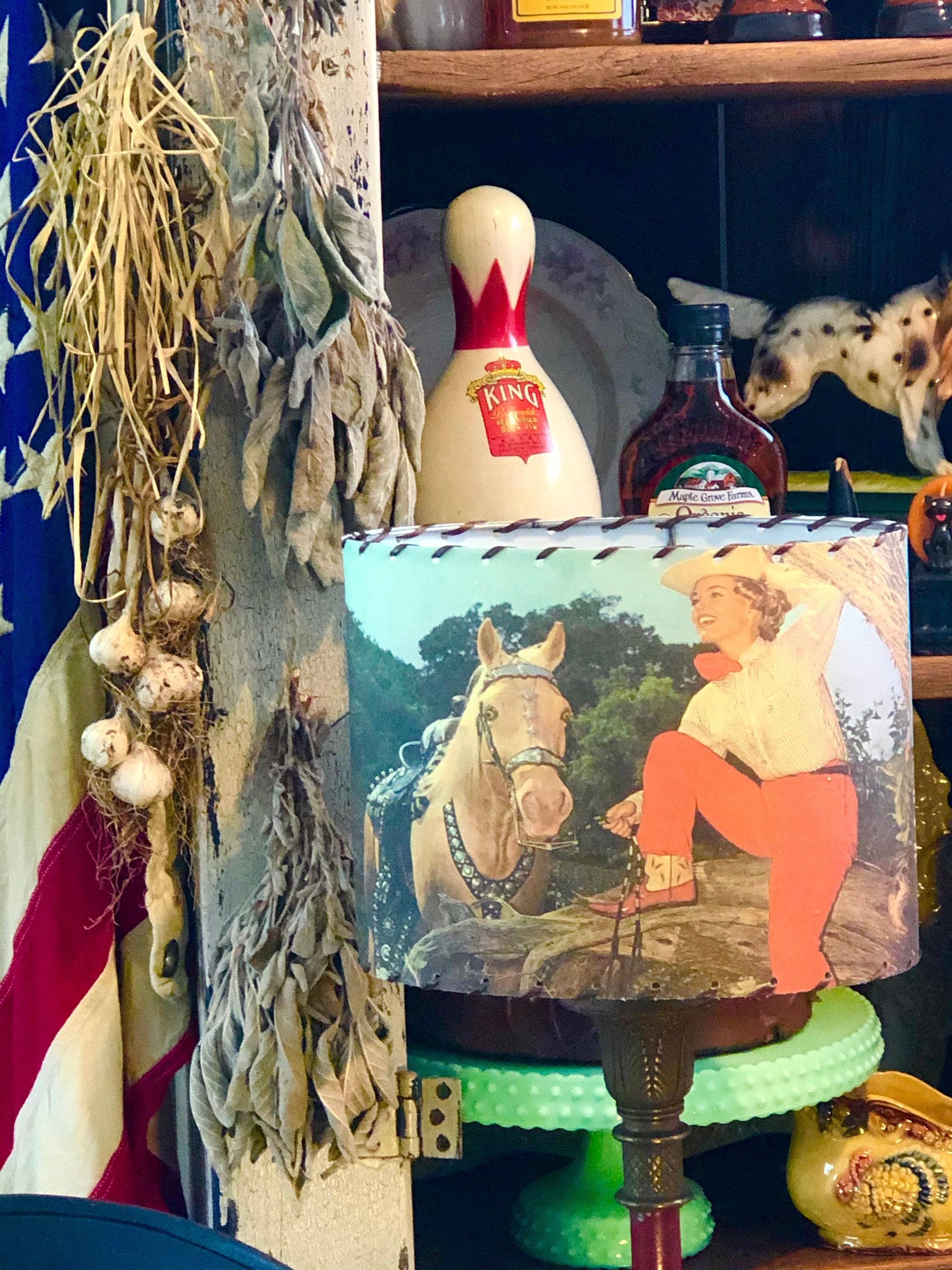 This smaller version of our vintage images Cowgirl Lamp shade is a rootin' tootin' USA Handmade beaut !!
