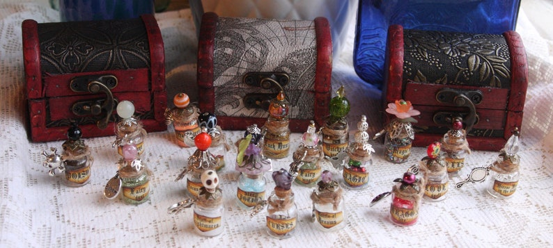 Ready to ship wizard witch Wiccan gorgeous small /'potion/' bottle with embellishment Pagan Mirror Mirror in the Bottle spells