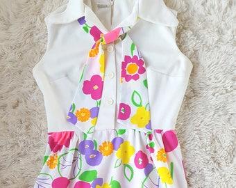 Women's Vintage 1960s Flower child bright floral maxi dress retro hippie chic size L XL