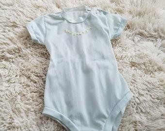 78e6ca086 Vintage 1950's baby boy girl blue semi sheer romper onesie 3-6 months