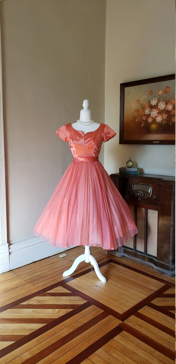 Vintage 1950's pink satin chiffon dress pink party