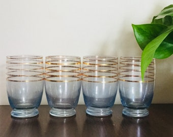 Set of 4 Vintage Blue Glass Tumblers Gold Striped