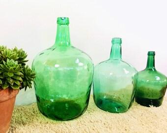 Set of 3 flasks green french vintage