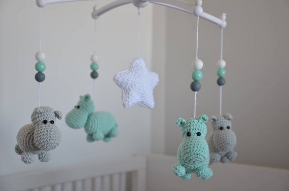 Mint Und Grau Hippo Mobile Baby Baby Mobile Mit Musik Etsy