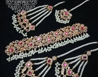 pakistani jewelry choker set joomer earrings tikka