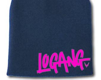 Logan Paul  LOGANG  Beanie ~Blue with savage hot pink logo!!! e176f235603