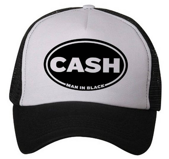333fe496 CASH Trucker Hat 'Man in Black' Snapback   Etsy