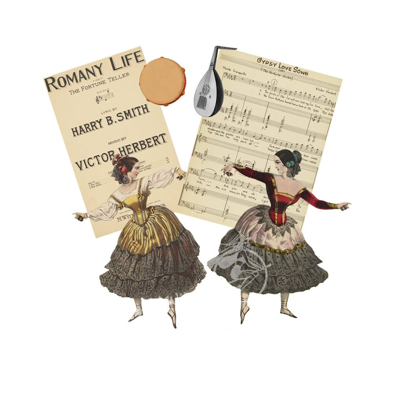 Vintage Gypsy Collage Sheet- Gypsy Dancers, Book Cover, Music Sheet,  Tambourine and Mandolin 8 1/2