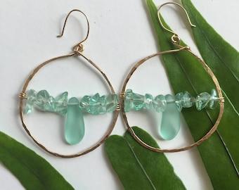 Blue Sea Glass Hoop Earrings
