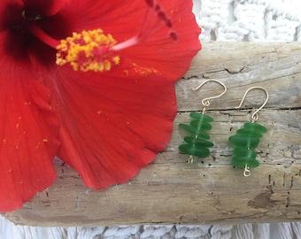 Green Sea Glass Bead Stack Earrings