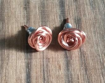 Copper Rose Stud Earrings