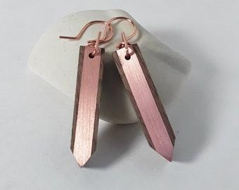 Copper and Walnut Tab Earrings