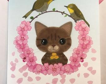 Sakura with a tabby cat and birds
